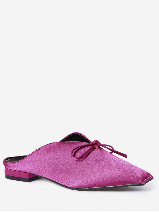 Zapatillas de tacón cuadrado de raso bowknot - Cientos de Fructosa 37