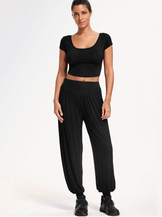 hot Cropped Top with Bloomer Pants Gym Suit - BLACK L
