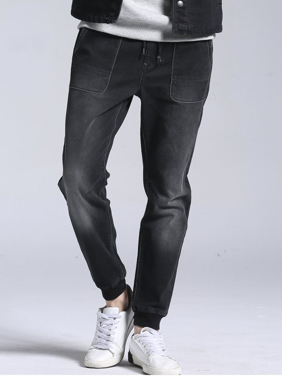 fancy Drawstring Stretch Jogger Jeans - BLACK 40