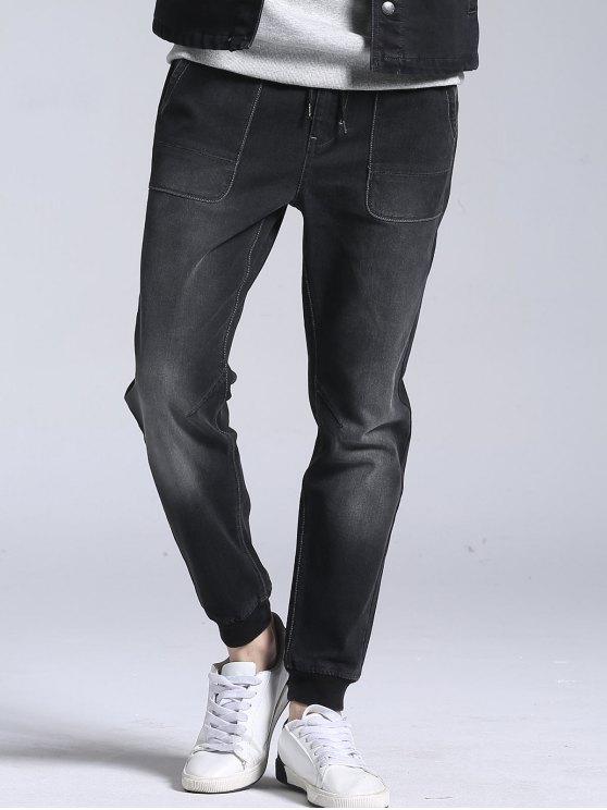 Elastische Jogger Jeans mit Kordelzug - Schwarz 36