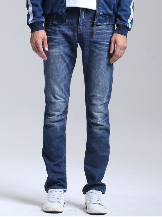 Zipper Fly Straight Leg Jeans - Azul 32
