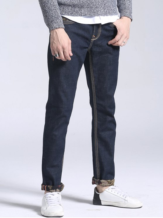 Jeans Droit Imprimé Floral avec Poche - Bleu Foncé 38