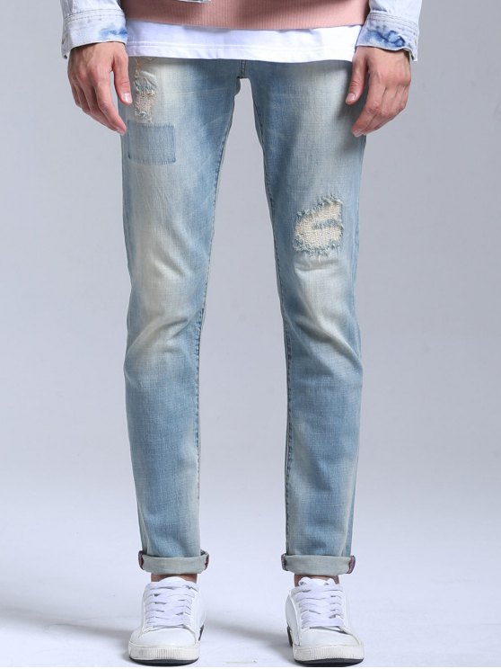 Stretch Patched Faded Jeans - Azul Claro 36