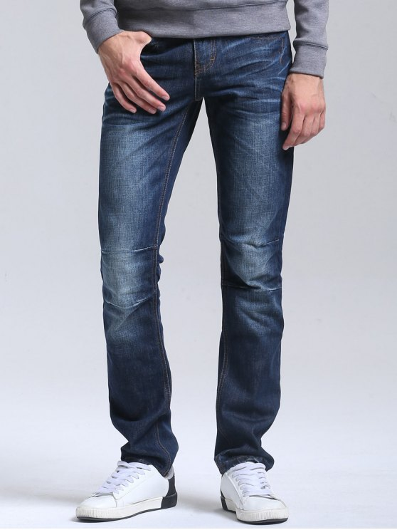 Regular Fit Casual Straight Jeans - Azul Escuro 32
