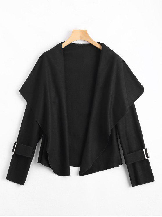 معطف شال الرقبة مربوط - أسود XL