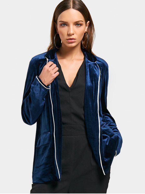 lady Flap Pockets Velvet Open Front Blazer - PURPLISH BLUE L
