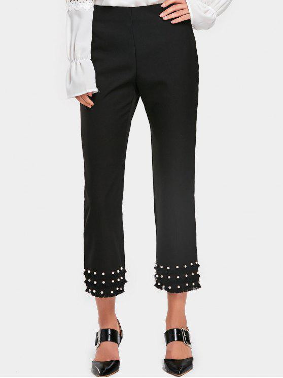online Tassels Faux Pearl Boot Cut Pants - BLACK L