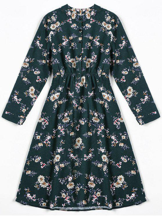 fashion Tiny Floral Fit and Flare Dress - BLACKISH GREEN M