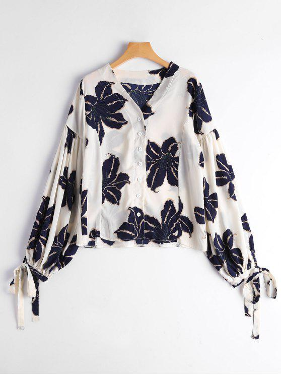 online Drop Shoulder Floral Print Puff Sleeve Blouse - PURPLISH BLUE ONE SIZE
