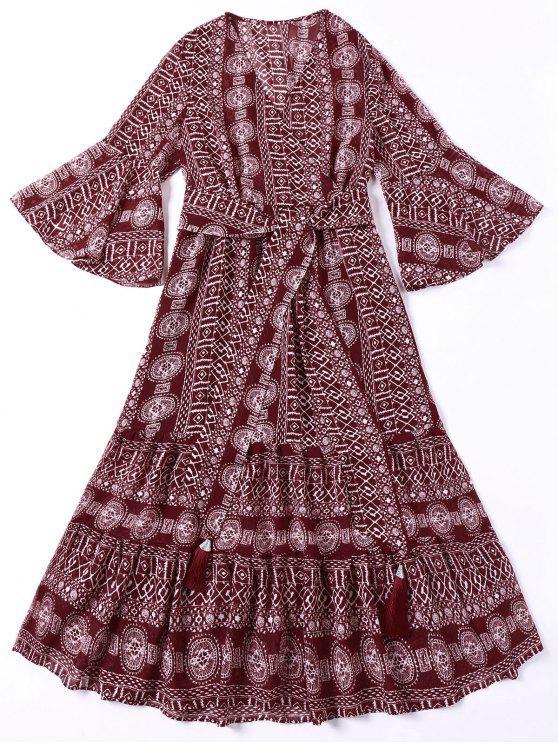 Tie Belt Indian Print Vestido boêmio - Vermelho Escuro M