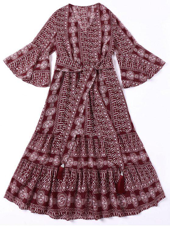Robe Bohémienne Imprimée avec Ceinture - Rouge Foncé L