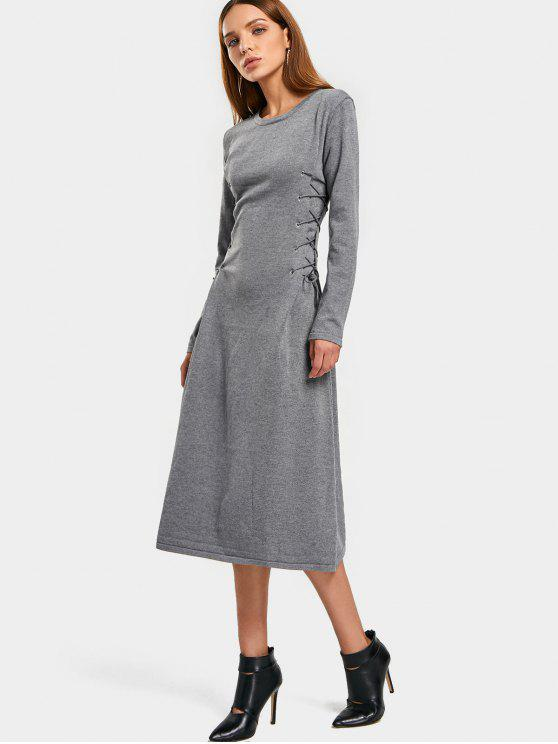 women's Long Sleeve Lace Up Sweater Midi Dresss - GRAY ONE SIZE