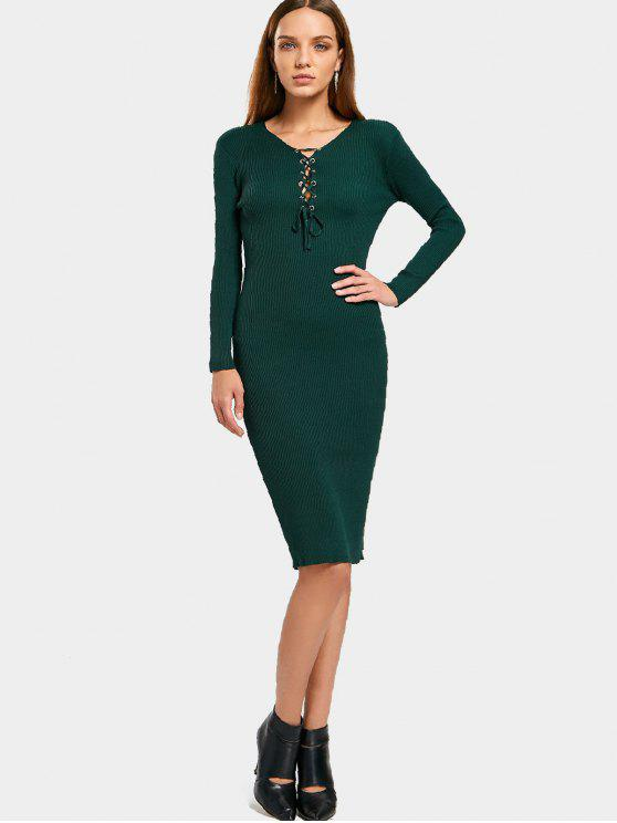 lady Long Sleeve Lace Up Sweater Bodycon Dress - GREEN ONE SIZE