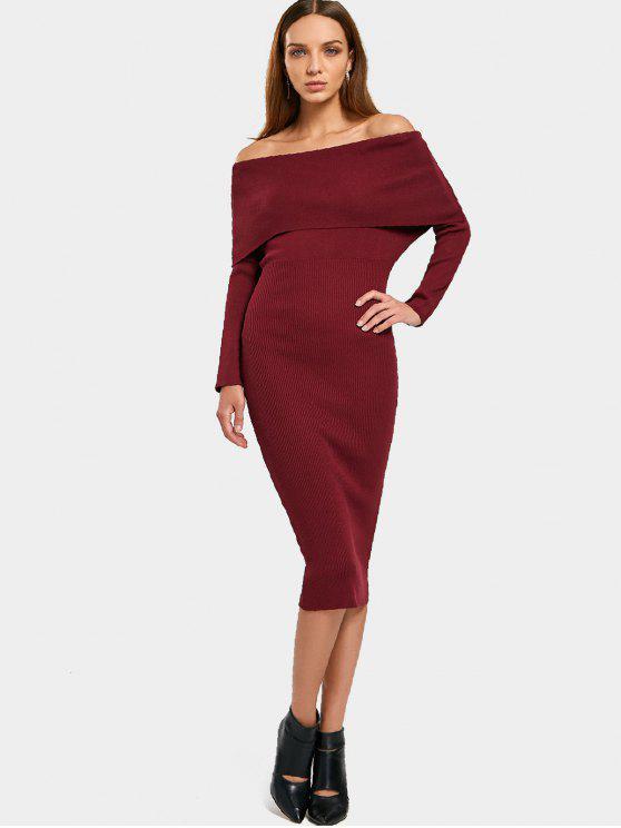 Overlap fuera del hombro vestido de Bodycon del suéter - Vino Rojo Única Talla