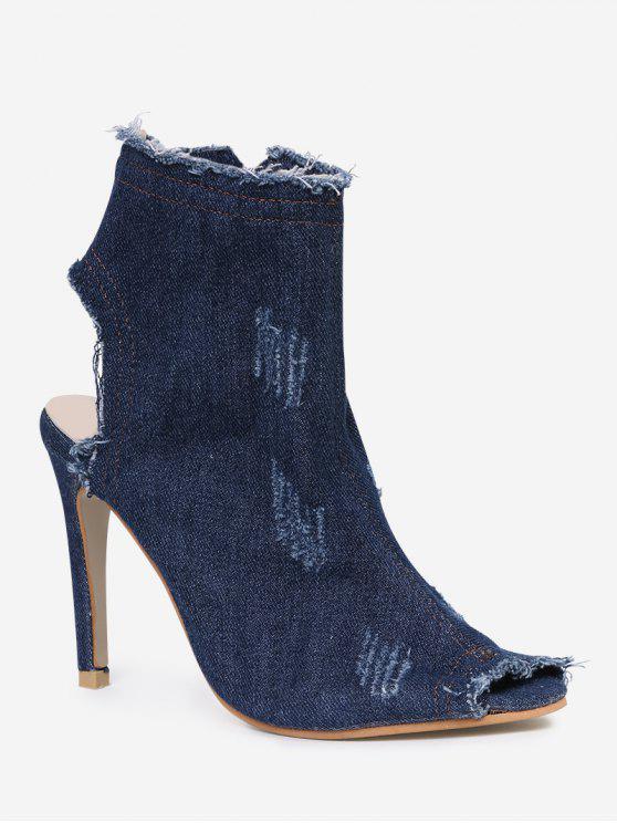 Denim Peep Toe Zipper Ankle Boots - Bleu Foncé 37