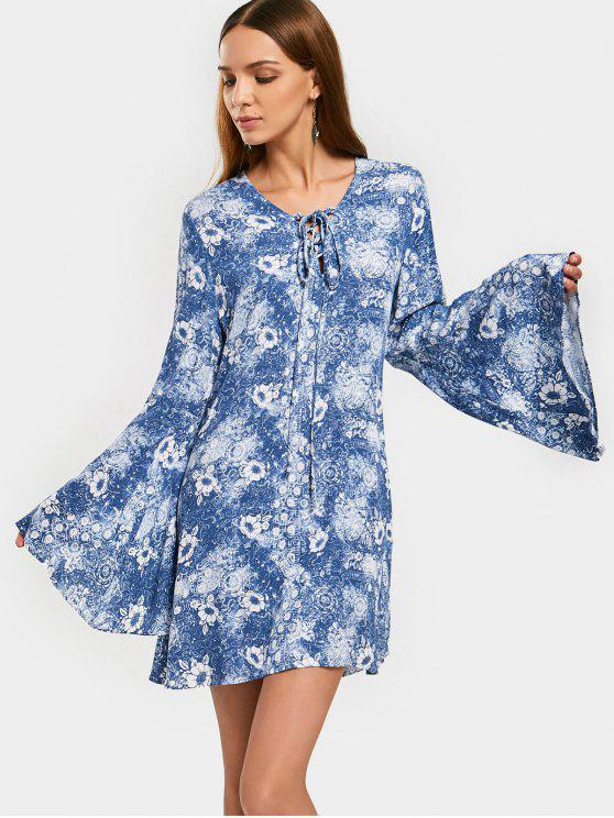ladies Flare Sleeve Floral Mini A Line Dress - BLUE M
