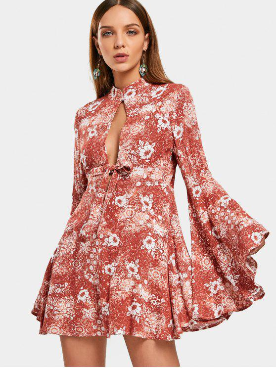 Flare Sleeve Floral Hollow Out Mini Dress - Rosa de Laranja  L