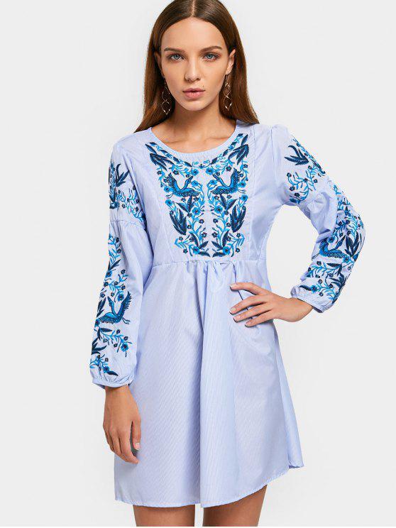 فستان مخطط مطرز طويلة الأكمام بخط A - شريط S