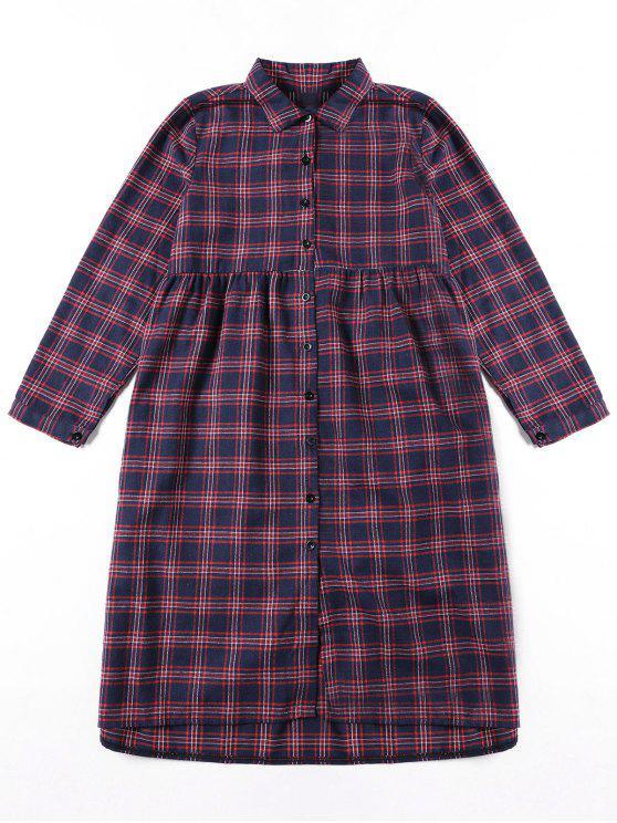 Vestido de camisa de xadrez com botão para cima - Cor Mistura S