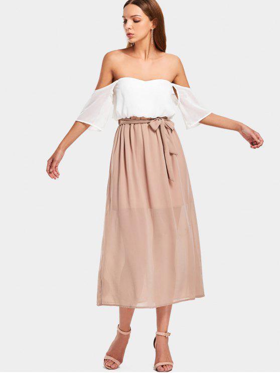 Vestido Midi com dois tons de ombro - Branco L