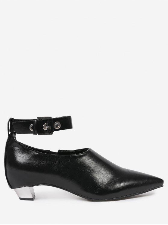 Flache Schuhe mit Knöchelriemen und Spitzen Zehen - Schwarz 39