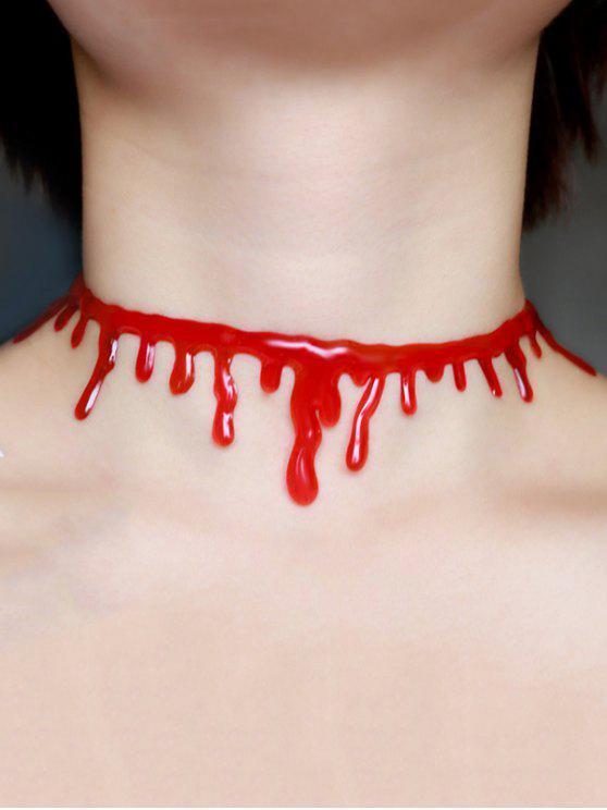 Collier Choker Halloween Sanguin Plastique - Rouge