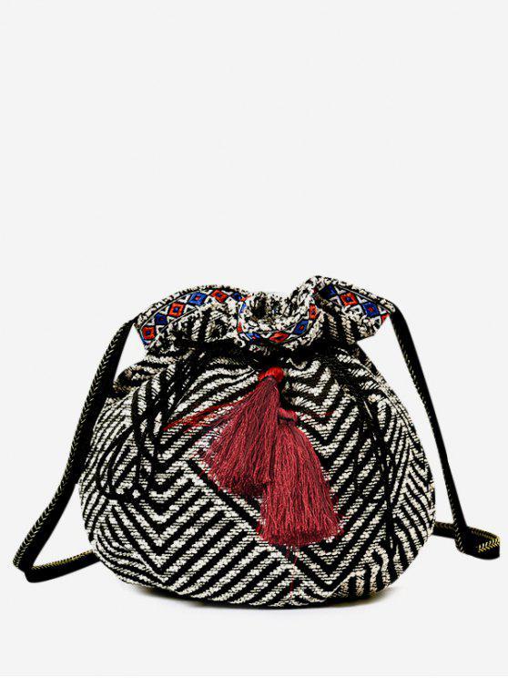 unique Tassel Striped Drawstring Crossbody Bag - BLACK