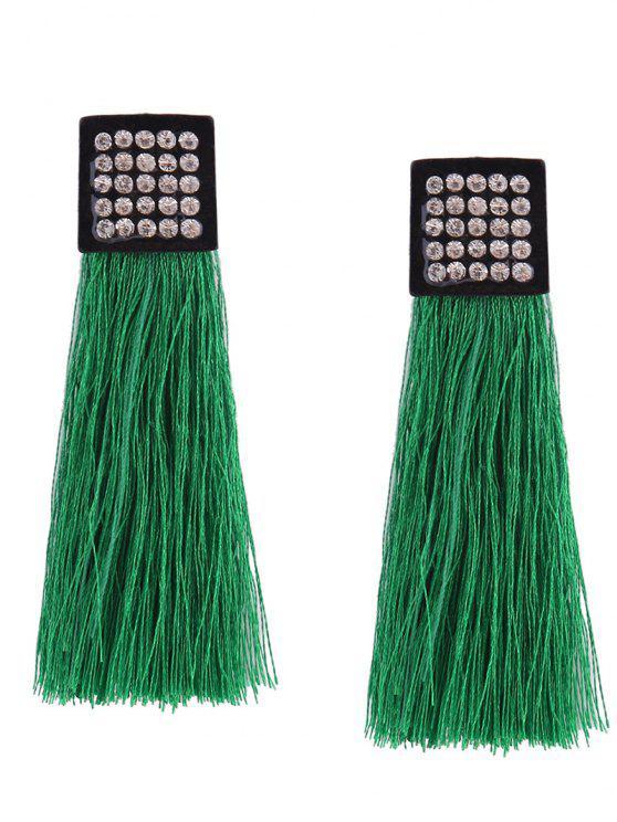 Rhinestoned Geometric Tassel Earrings - Vert