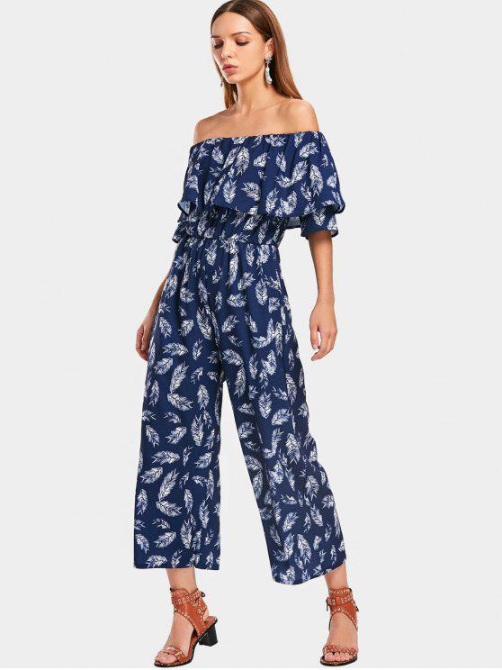 women's Overlap Feather Off Shoulder Jumpsuit - PURPLISH BLUE S