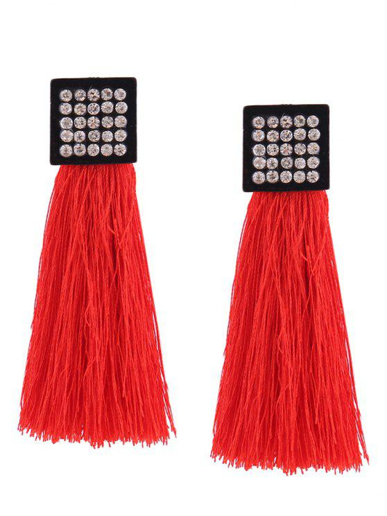 Rhinestoneed Geometric Tassel Earrings - Vermelho