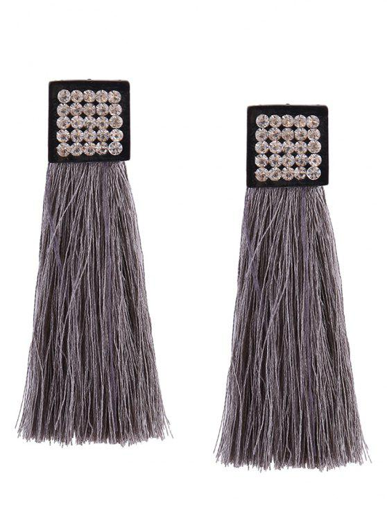 Rhinestoned Geometric Tassel Earrings - Gris