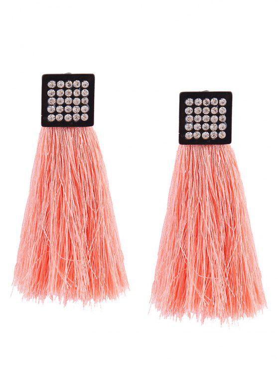 Rhinestoned Geometric Tassel Earrings - Rose Clair