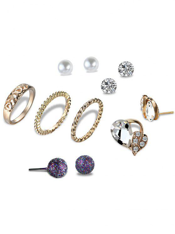 trendy Faux Pearl Leaf Ball Earring and Ring Set - GOLDEN