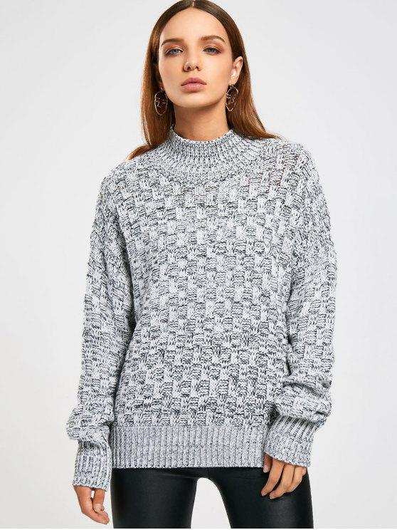Pull en Tricot Chiné à Col Montant - Gris TAILLE MOYENNE