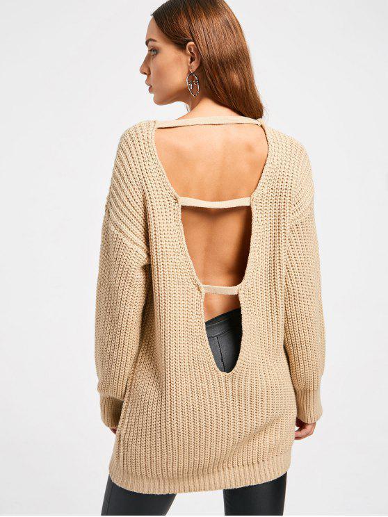 Camisola comprida de malha tricotada - Damasco Tamanho único