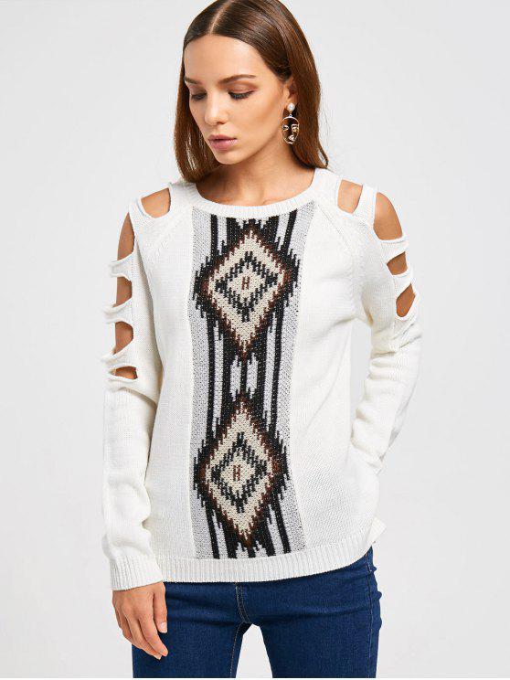 Suéter de manga corta de corte alto - Blanco Única Talla
