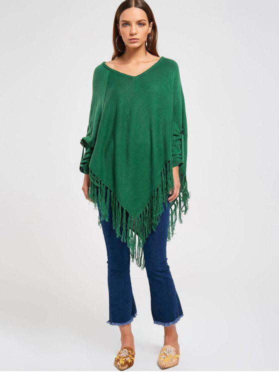 Asymmetric Batwing Fringed Sweater - Verde Única Talla