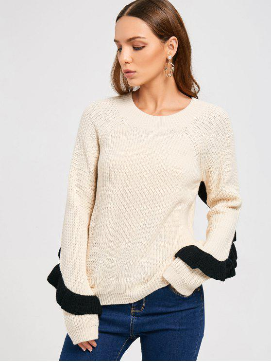 outfits Ruffles Back Half Zip Sweater - OFF-WHITE ONE SIZE