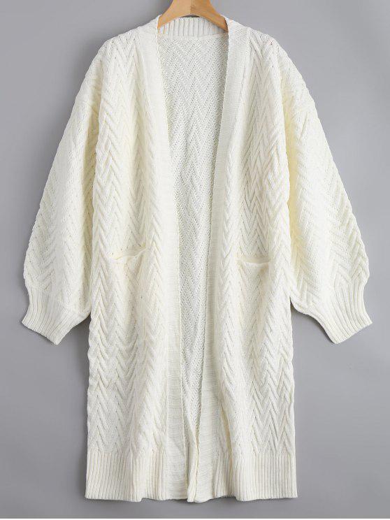 Cardigan en tricot à câble ouvert à l'avant avec poches - Blanc TAILLE MOYENNE