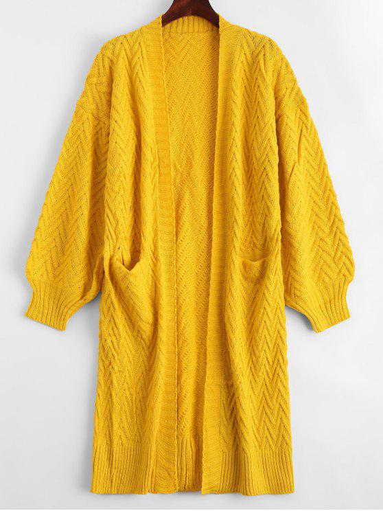Open Front Cable Knit Cardigan With Pockets YELLOW: Sweaters ONE ...