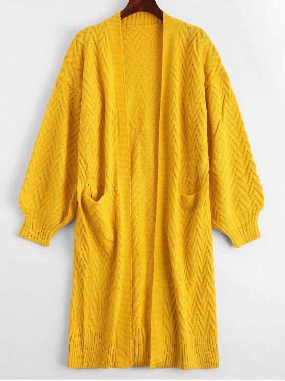Casaco de malha de cabo dianteiro aberto com bolsos - Amarelo Tamanho único