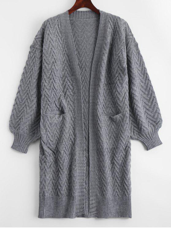 Cardigan en tricot à câble ouvert à l'avant avec poches - Gris TAILLE MOYENNE