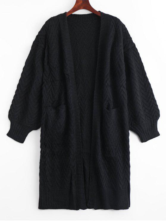 Cardigan en tricot à câble ouvert à l'avant avec poches - Noir TAILLE MOYENNE