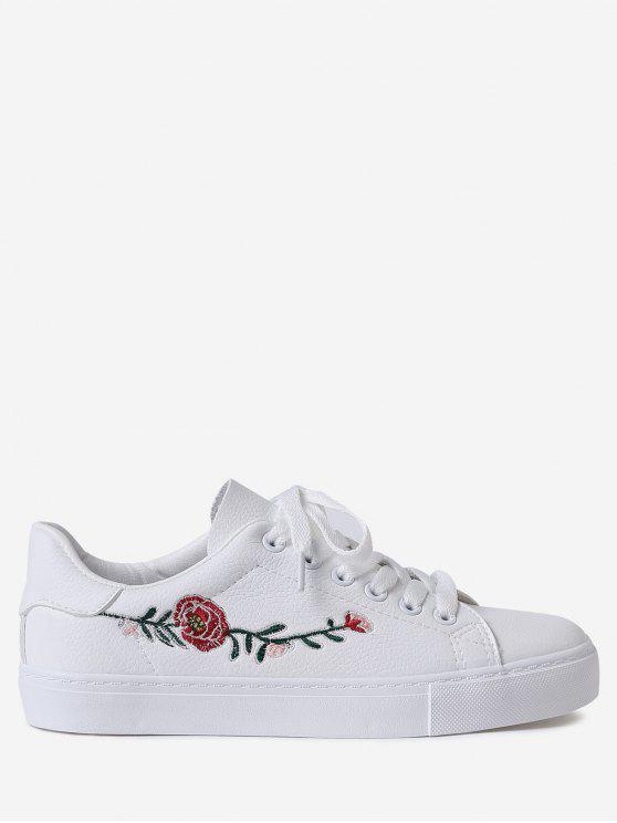 Faux Leather Flower Embroidery Athletic Shoes - Branco 40