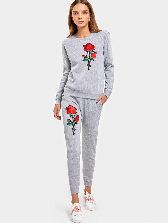 Rose Embroidered Patches Sweatshirt et Casual Drawstring Pants - Gris S