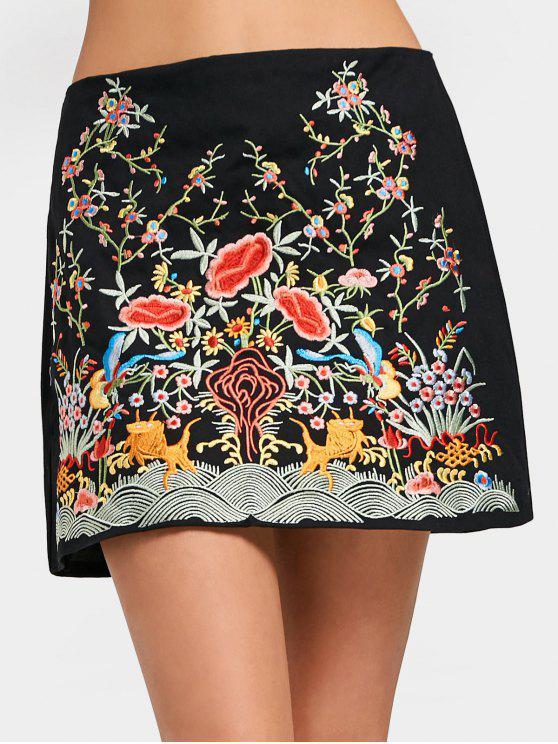 Floral De Alta Cintura Bordado Una Línea Vestido - Negro XS