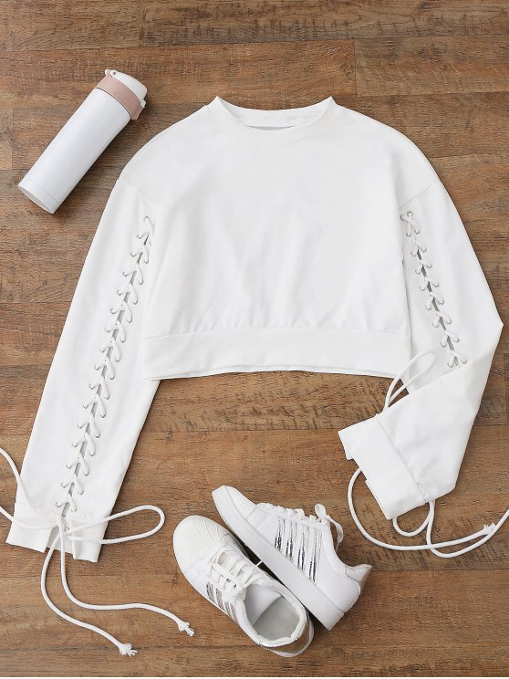 shops Cropped Lace Up Sleeve Sweatshirt - WHITE M