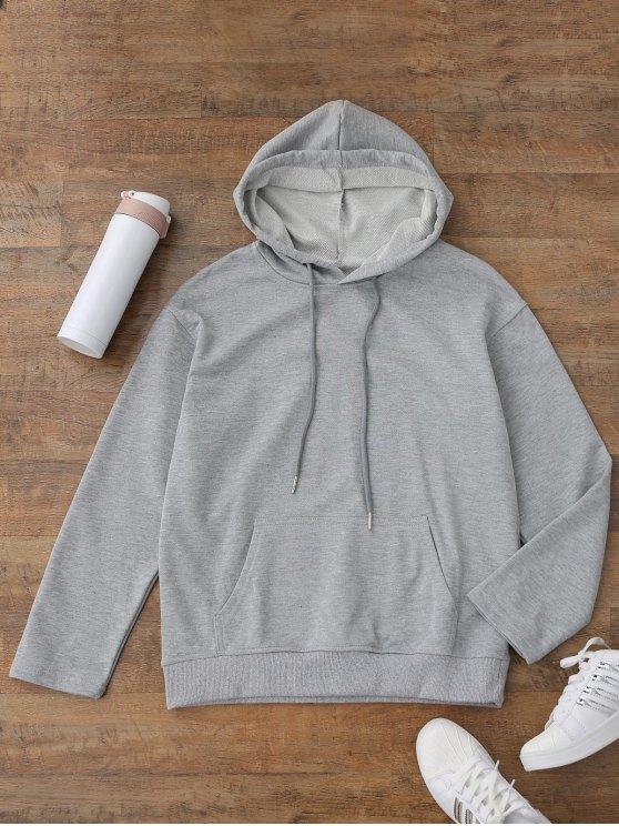 Pullover Kangaroo Pocket Casual Hoodie - Gris S