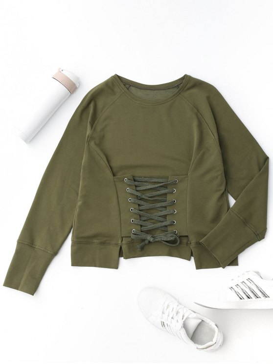 hot Front Lace Up Pullover Sweatshirt - ARMY GREEN M