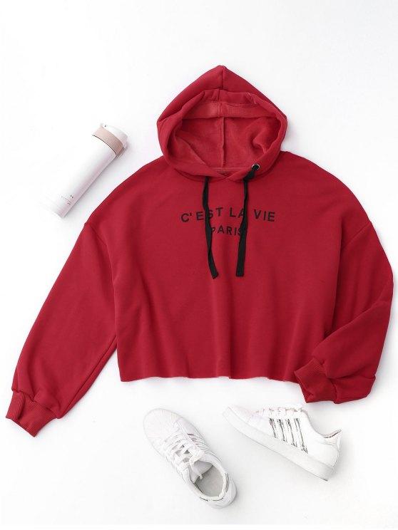 La letra cosechada Fleeced la sudadera con capucha - Rojo S